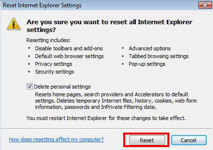 Internet Explorer 8 reset