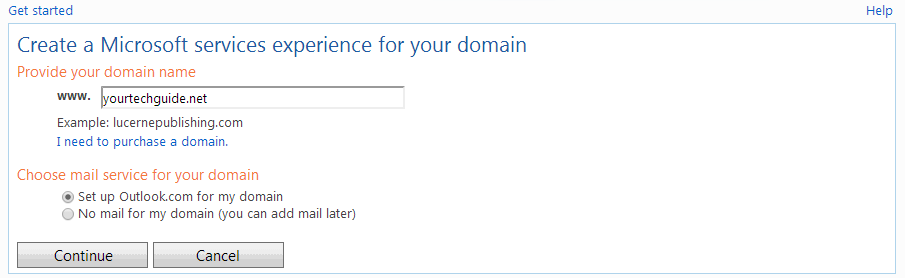 microsoft srevices experience for your domain